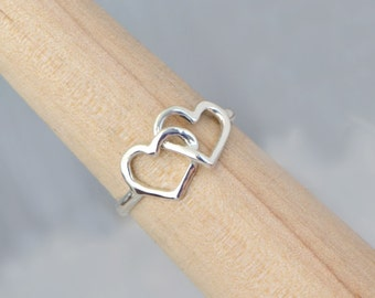 Sterling Silver Double Heart Ring - Intertwined Heart Ring - Two Heart Ring - Silver Ring - Sterling Ring - Heart Jewelry