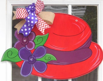Red Hat Society Door Hanger, Red Hat Lady Door Hanger, Red Hat, Purple Flowers, Red Hatters