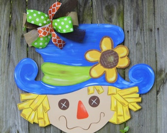 Scarecrow Door Hanger, Fall Door Hanger, Thanksgiving, Sunflower