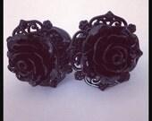 Black on Black Pinup Black Rose Plugs Custom Girly Plugs