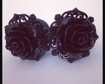 Black on Black Pinup Black Rose Plugs Custom Girly Plugs