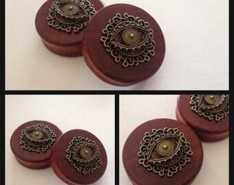 Pick Size BloodWood All Seeing EyemOrganic wood ear plugs gauges