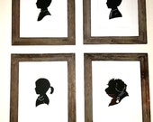 Custom Cut Out SILHOUETTE with VINTAGE CLOTHING selection (size, name and mat options available)