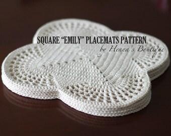 "Crochet Placemat Pattern - Square ""EMILY"" Placemats - PDF"