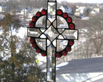 Stained Glass Suncatcher|Stained Glass Cross|Home & Living|Spirituality and Religion|Religious Home Decor|Red|Handcrafted|Made in USA