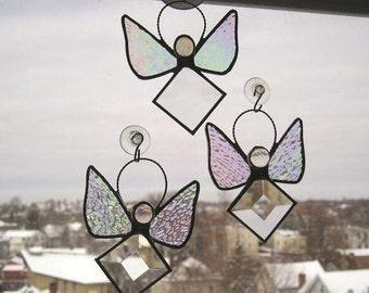 Stained Glass|Angel Suncatcher|Birthstone Angel|April Angel|Diamond Angel|Angel|April Birthday|Birthstone Suncatcher|Handcrafted|Made in USA