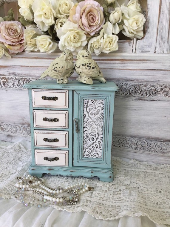 Shabby Painted Jewelry Boxchippy Distressed Aqua Blue And