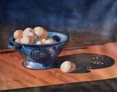 Watercolor ORIGINAL Eggs for Breakfast still life morning sunlight shadows watercolour