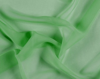 "54"" Wide 100% Silk Chiffon Green By the Yard"