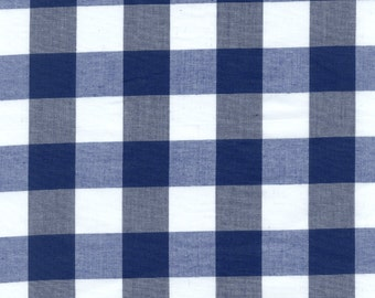 "60"" Wide Gingham 1 Inch Check Navy Blue-Wholesale by the Yard"