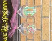 Lilly Pulitzer Inspired Monogrammed / Personalized Wine Glass, Christmas Gift, Bridesmaid Gift, Bachelorette