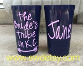 Bachelorette Party Tumblers / Cups, Set of 4, Personalized on BOTH SIDES, Bridesmaids Gift, Party Cups