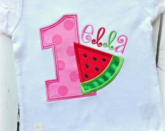 Watermelon birthday shirt - 1st birthday watermelon shirt - summer themed birthday shirt - girls first birthday shirt - personalized shirt