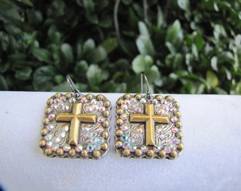 "1"" Antique Golden Cross Crystal Concho Earrings"