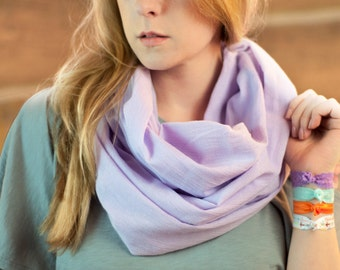 Lavender Infinity Scarf, Boho Cotton Gauze Pastel Lightweight Purple, Festival Bohemian Circle Scarf, Ladies Scarves, Women's Accessory