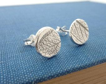 Round Silver 'Leaf Pattern' Stud Earrings - Sterling Silver Stud Earrings, Free UK Postage