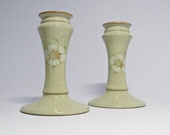 Vintage Denby Pottery Daybreak Candlesticks - One Pair Denby Candlesticks - Denby Pottery - Denby Daybreak