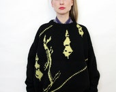 Vintage Unisex Chunky Oversized Hand Knit Skiing Motif Black Wool Sweater
