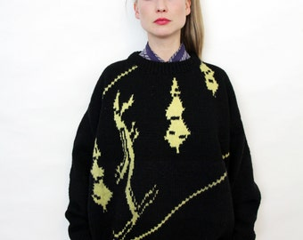 Vintage Unisex Chunky Oversized Hand Knit Skiing Motif Black Wool Sweater