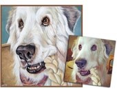 custom dog portrait pet portrait dog painting hand painted original oil painting great pyrenees art 16x16 made to order by Heather Hughes