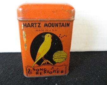 Vintage Hartz Mountain Song Restorer Bird Food Tin