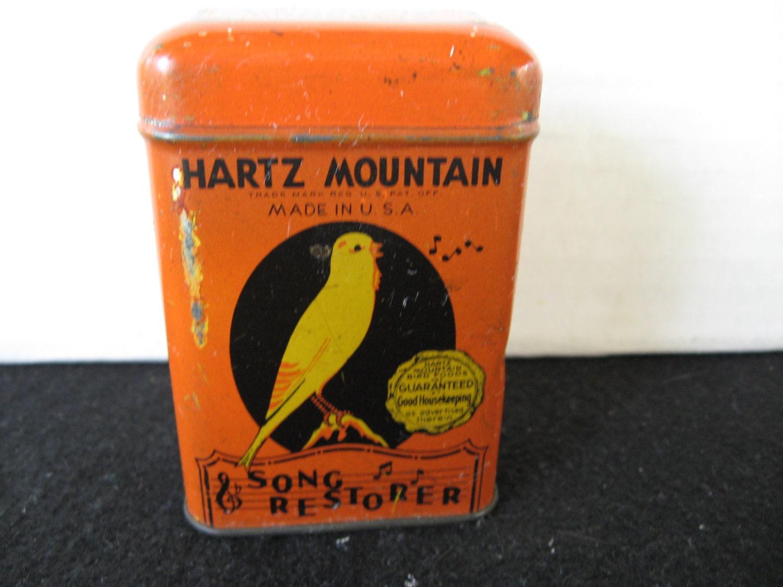 Vintage hartz mountain song restorer bird food tin for Bird feed tin