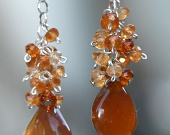 Wire-wrapped Carnelian and Sterling Silver cluster earrings