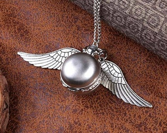 Antique Silver Snitch Ball POCKET WATCH Necklace Locket with Wings