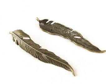 Feather Charms -10pcs Antique Bronze Feather Charm Pendants 10x60mm TB27648