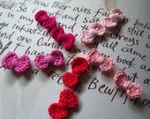 Pink and Red Mini Crochet Bow Tie Appliques, Set of 24.