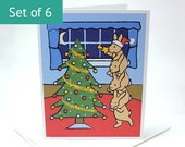 Bunny Rabbit Christmas Cards - Holiday Christmas Card Set (Set of 6)