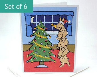 Bunny Rabbit Christmas Cards - Holiday Christmas Card Set (Set of 6)
