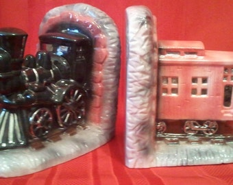 Train Engine & Caboose Bookends-Ceramic-Airbrushed