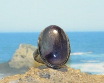 Sterling silver fluorite ladies / womens ring