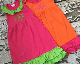 Embroidered Summer Ruffle Dress - Pink Monogrammed Ruffle Dress - Orange Initials Dress - Play Dress