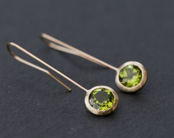 18K Gold Dangle Earrings - 18K Gold Peridot Drop Earrings - Green Gemstone Gold Earrings - 18K Gold Lollipop Earrings - Free Shipping