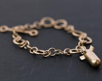 Gold Charm Bracelet - 9k Gold Bomb Bracelet - 9k Gold Charm Bracelet - Charm Bracelet with Hand Made 9k Gold Chain - FREE SHIPPING