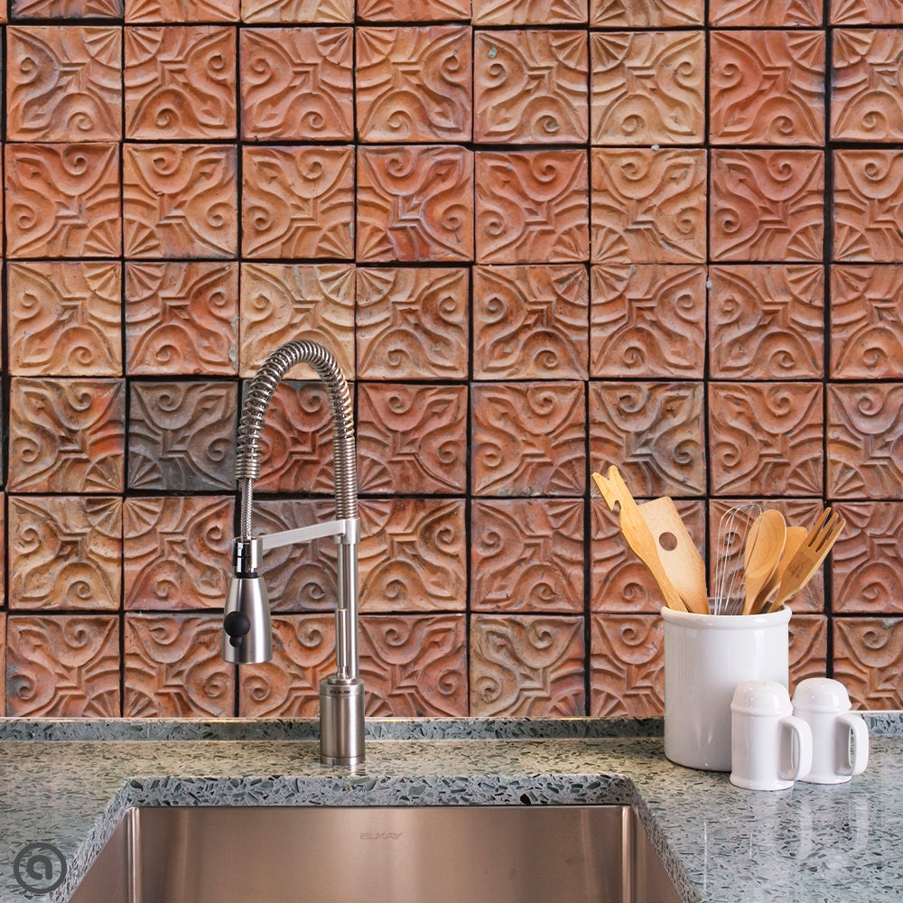 Removable wallpaper clay tiles peel stick self adhesive for Removable wallpaper