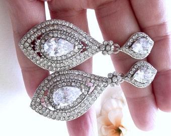 Wedding Bridal Earrings - Vintage Large Halo Triple Layer Cubic Zirconia CZ Post Earrings