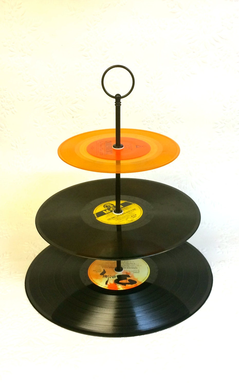 Cake Stand Made From Vinyl Records