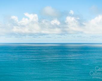Digital download - sea photography art turqoise blue still clouds zen abstract