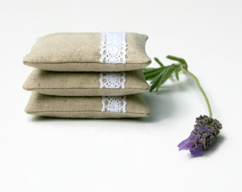 Lavender Pillows Lavender Sachets -  Set of 3 - Linen and Lace - Minimal Classic Decor Scented Gift