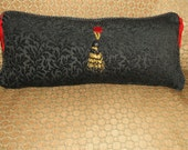 Specialty Lumbar Accent Pillow, Black Raised Embroidery, Red Tassels Trim, Red Velvet Button Trim, Gold & Black Large Front Tassel Trim
