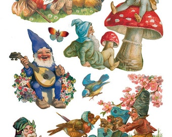 Gnomes Elves Sticker Package - 2 sheets - from Violette Stickers