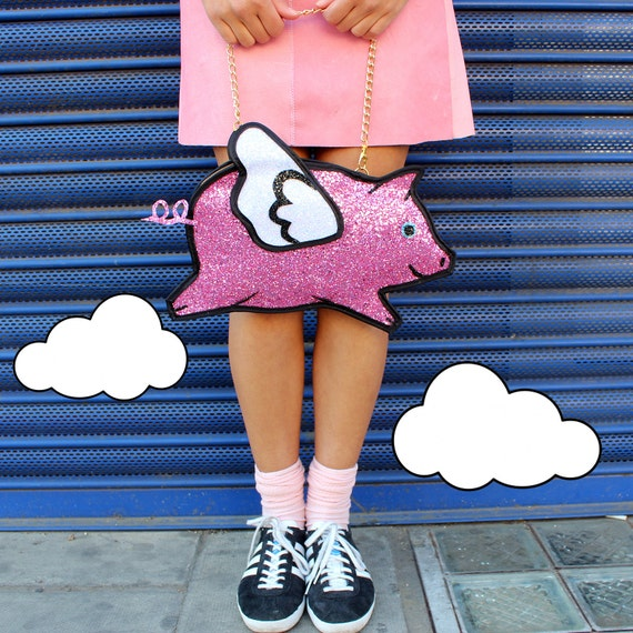 Pink Glitter Flying Pig Clutch Handbag