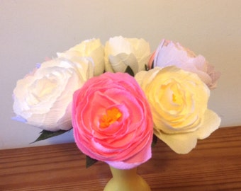 Crepe paper peonies in pastel colours
