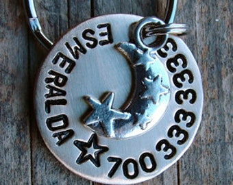 Dog ID Tag, Dog Tag  Pet Tag Stamped Nickel Pet Tag with Moon and Star Charm