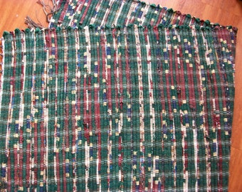 Handmade  green and maroon burgundy  loom woven long rag rug runner south dakota made