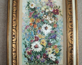 Original Floral Still Life Oil Painting Art Work, Mediterranean Style Impasto Relief  Decoupage and Paper Mache Still Life of Daisies