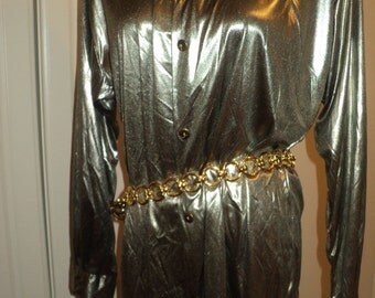 Vintage Gun Metal Silver Lame Polyester  Blouse with wonderful draping qualities in Near Mint Condition with the original tags still on it
